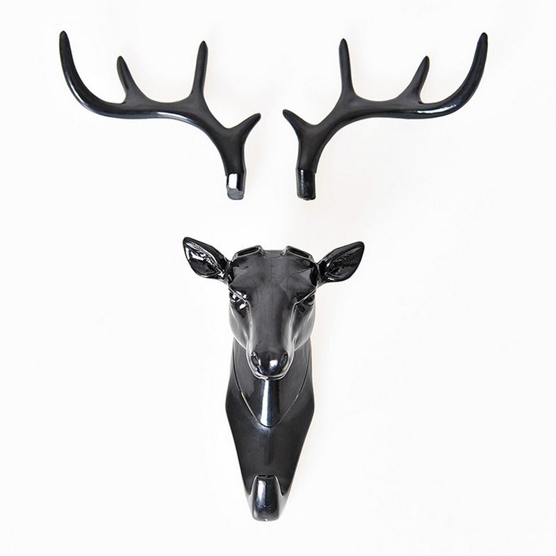 Keys Sticky Holder Deer Head Animal Self Adhesive Clothing Display Racks Hook Coat Hanger Cap Room Decor Show Wall Bag