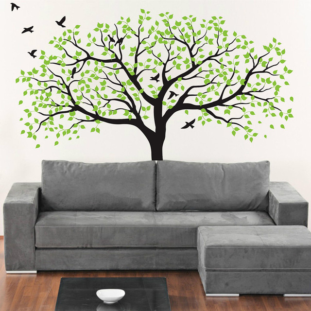Large White Tree Wall Decal Nursery Wall Sticker Tree And Birds Art Baby  Kids Room Wall