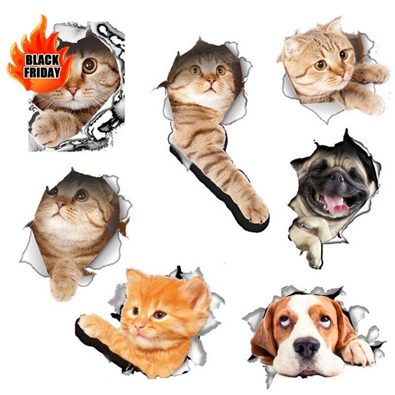 DIY 3D яркие кошки Туалет переключатель наклейки мультфильм крышка выключателя охраняемых стене наклейки виниловые наклейки для домашнего д...