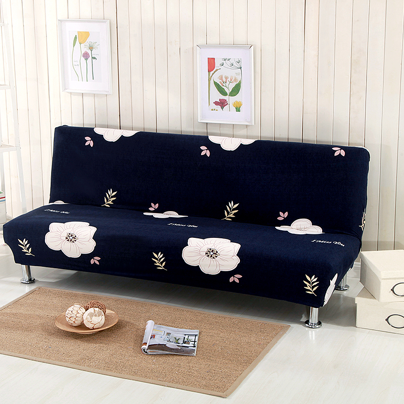 Swell Us 16 38 58 Off Deep Blue Flowers No Handrail Sofa Bed Covers For Living Room Elastic Armless Sofa Bed Slipcovers Cheap Anti Dirty Slipcovers In Download Free Architecture Designs Scobabritishbridgeorg