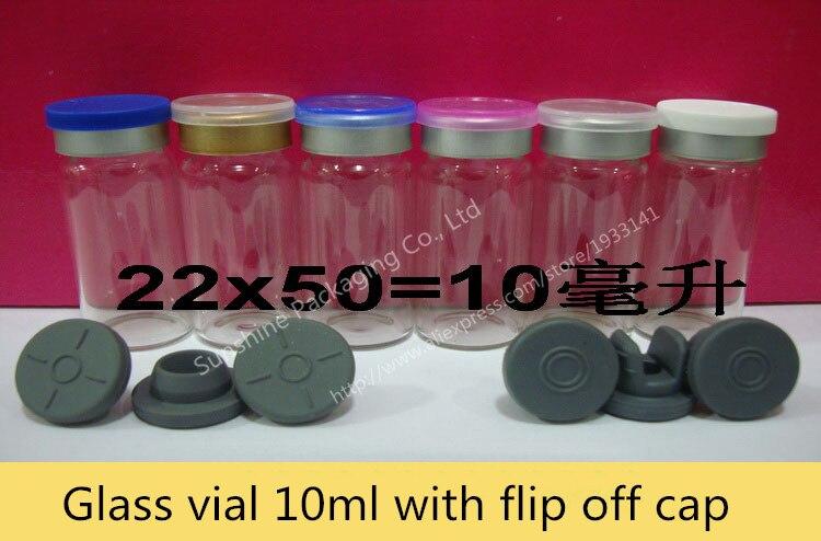 100 x 10ml Clear Injection Glass Vial Flip Off Cap 1 3oz Transparent Glass Bottle 10cc