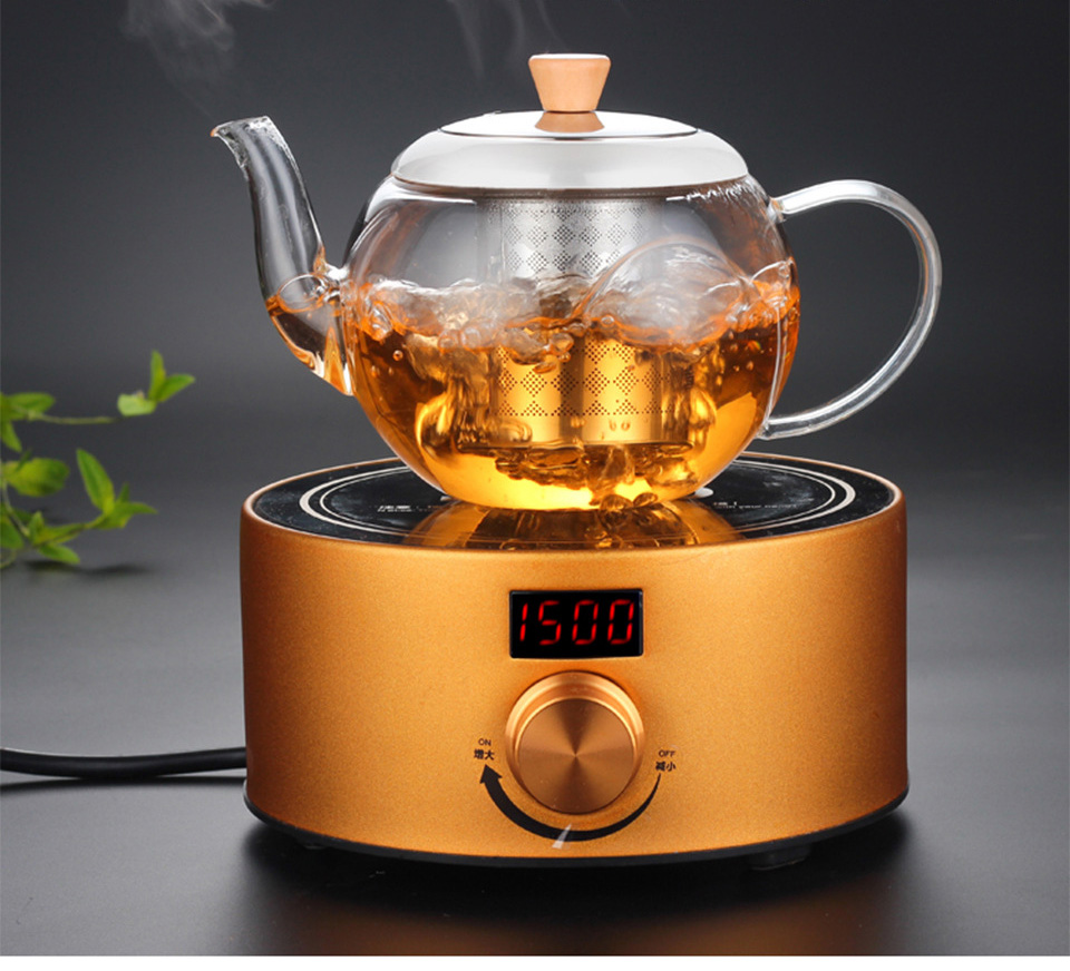 PINDEFANG 2017 New 800ml Heatable Borosilicate Glass Teapot Stainless Steel Strainer Lid gift Teaset Health Gift teaware Kettle