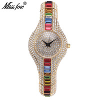 MISSFOX Miss Fox Women Watches Luxury Crystal Diamond Ladies Gold Watch Colorful Hidden Clasp Small Dial Female Wristwatch Clock