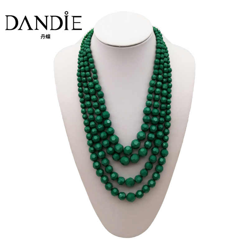 Dandie Trendy  Personality Green Four Layers Acrylic Bead Necklace, Three Color Available