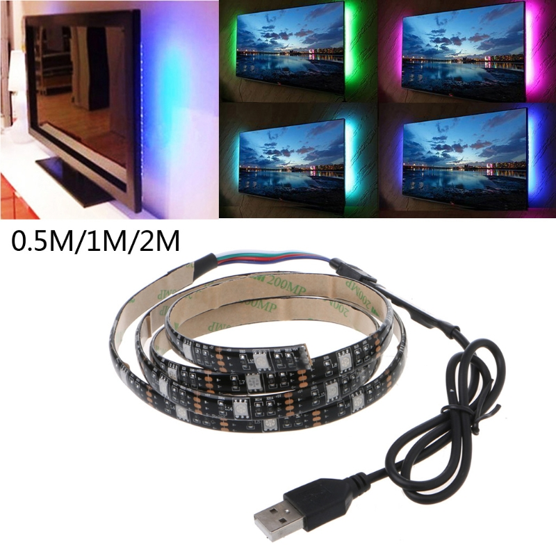 YAM 5V 5050 RGB USB 30 LED/m Non Waterproof Flexible Strip Light TV Back Lighting Kit+3 Key RGB Controller