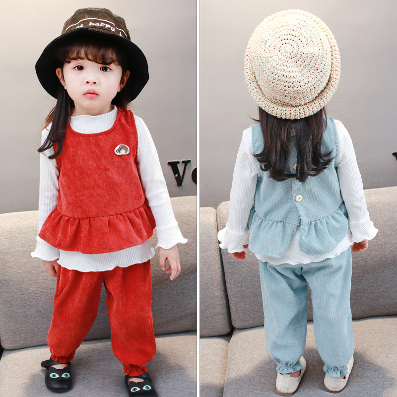 KINE PANDA Children Clothes Cute Girls Clothes Set t shirt + Vest Coat+Pants 3pcs Costumes Kids Sport Suit Girl Clothing Set flower sleeveless vest t shirt tops vest shorts pants outfit girl clothes set 2pcs baby children girls kids clothing bow knot
