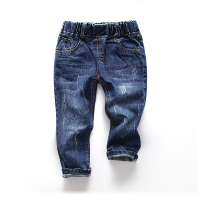 1-10y Baby boys jeans 2017 spring fashion children denim pants ripped style elastic waist kids long trousers