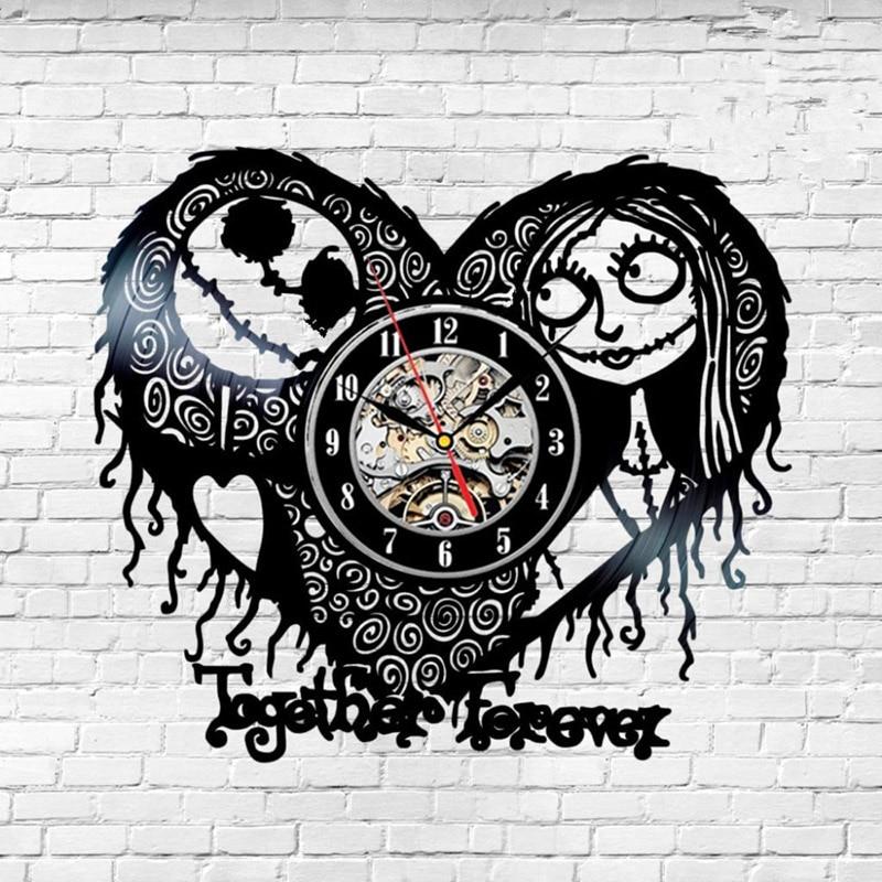 Nightmare Before Christmas Theme Heart Design Vinyl Record Hanging <font><b>Clock</b></font> Hollow and Creative CD Record <font><b>Clock</b></font> Antique Home Decor