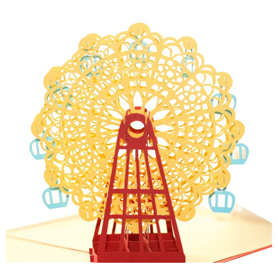 Perfect-Diy 3D Greeting Card With Envelope Pop Up Cute Birthday Gift Cards Ferris Wheel Valentine Day Handmade Souvenir yellow