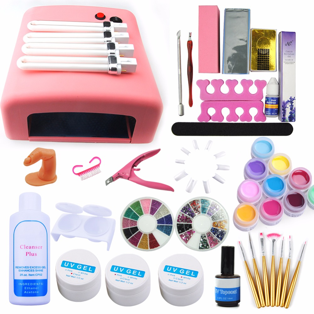 COSCELIA 36W UV Lamp For Nails With 4pcs Bulbs Nail Art Tools Kit Manicure&Pedicure Tools Set 12pcs UV Gel Nail Polish Set&Kit coscelia nail art tools for manicure 36w uv lamp for nail 10 color uv gel manicure set gel nail art set for gel nail polish