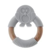Premium New Baby Teether Animal Silicone Safe Organic Wood Teething Ring Charms Newborn Sensory Toy Chew