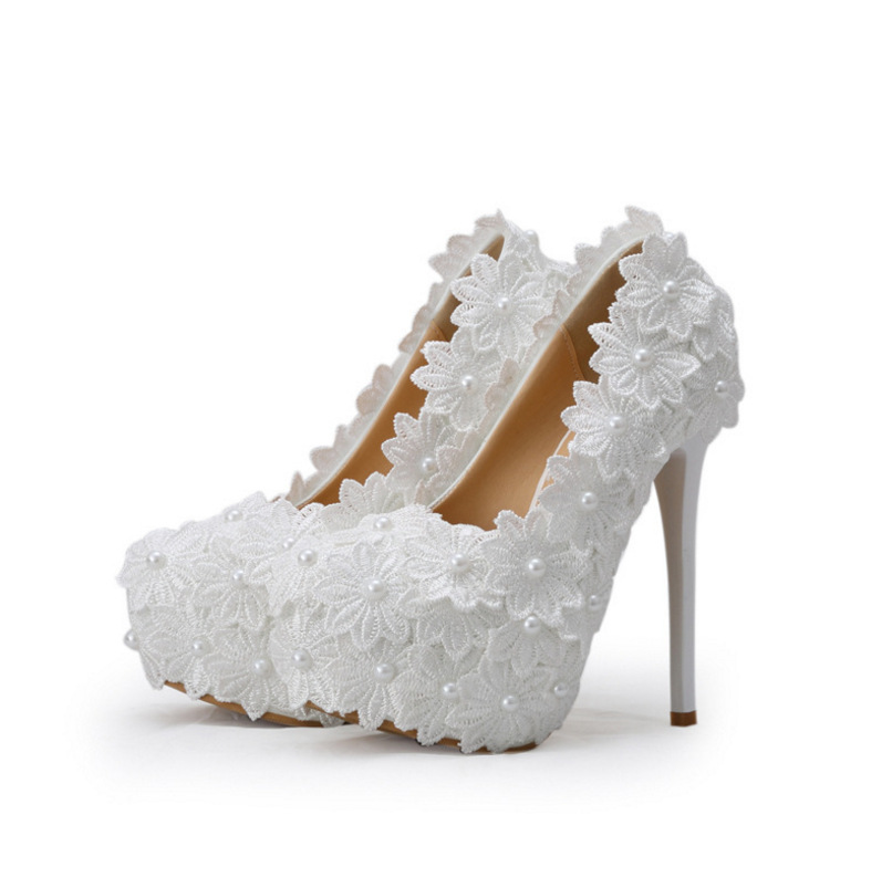 White Lace Flower Wedding Shoes Appliqeus Pearl Women Pumps Super High Heel with Platfrom Round Toe for Bridesmaid Bridal