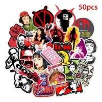 50 Uds película clásica Pulp Fiction Kill Bill Fight Club pegatinas para decoración del hogar DIY calcomanía pegatinas equipaje Laptop monopatín de juguete
