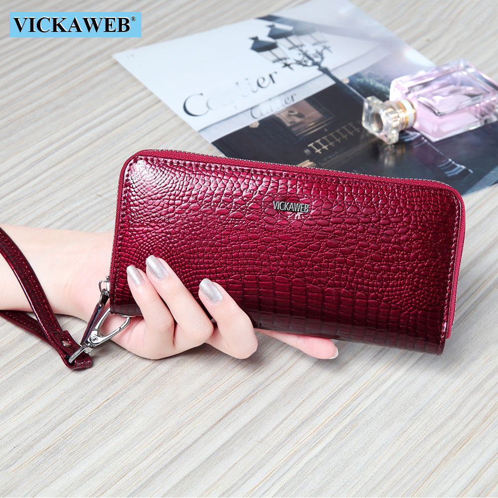 VICKAWEB Wristlet Wallet Purse Genuine Leather Wallet Female Long Zipper Women Wallets Card Holder Clutch Ladies Wallets AE38