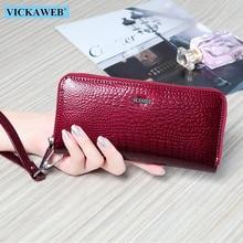 VICKAWEB portfel na nadgarstek torebka z prawdziwej skóry portfel kobiet długi zamek błyskawiczny kobiety portfele z etui na karty sprzęgła damskie portfele AE38