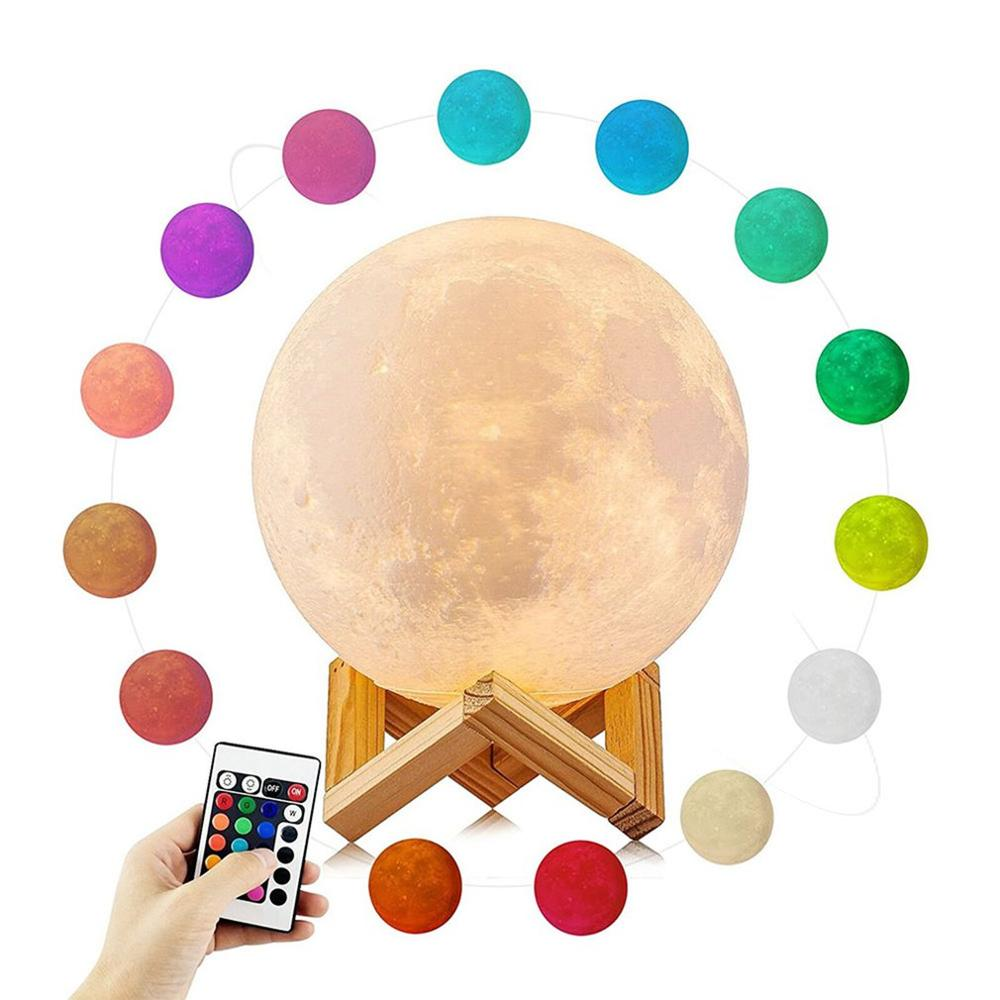 Led Under Cabinet Light Luminaria 3D Printing Moon Lamp Colorful Change Touch Remote Control Creative For Christmas