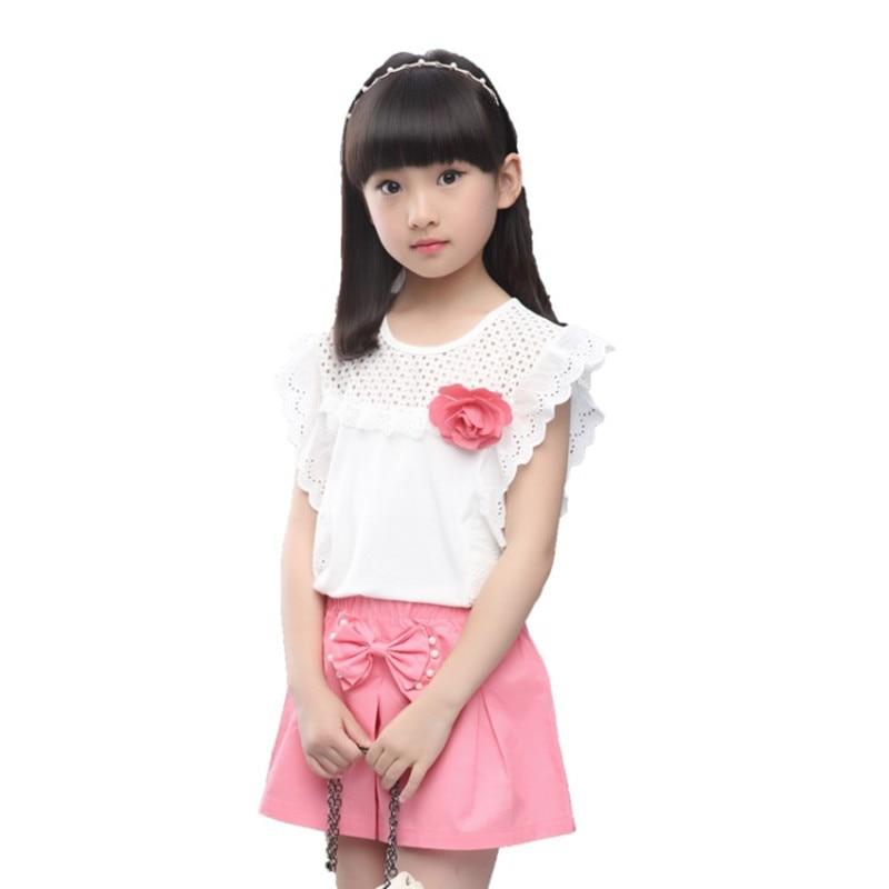 Tinédzser lányok gyöngy csipke rövid ujjú póló + nadrág 2017 nyári gyermek ruházat szettek Baby Girls ruhák 3-12 éves