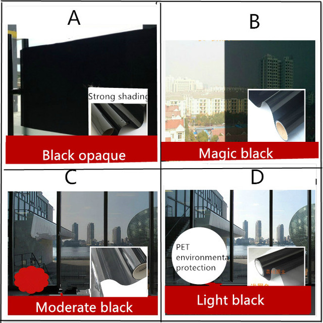 Dark Black Moderate Black Light Black Balcony Bedroom Kitchen Sliding Door  Home Windows Glass Foil Insulation