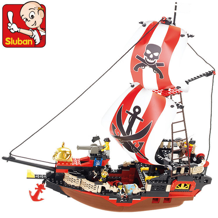 Sluban Pirate Ship Giocattoli Pirates Treasure Ship Weapons Building Blocks Bricks Sets Compatible With Lepin Friends lepin 22001 1717pcs pirate ship imperial warships model building blocks toy compatible with legoe pirates caribbean 10210