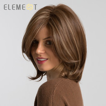 ELEMENT Short Synthetic Straight Bob Wig with Side Fringe Mixed Brown Color Natural Hairline Heat Resistant Party Wig for Women