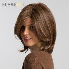 ELEMENT krótki syntetyczny prosto Bob peruka z bocznym frędzlami mieszany brązowy kolor naturalną linią włosów żaroodporna imprezowa peruka dla kobiet