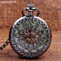 New Retro Design Hollow Men Pocket Watches Luminous Dial Mechanical Pocket Watches Fob Chain Necklace Clock