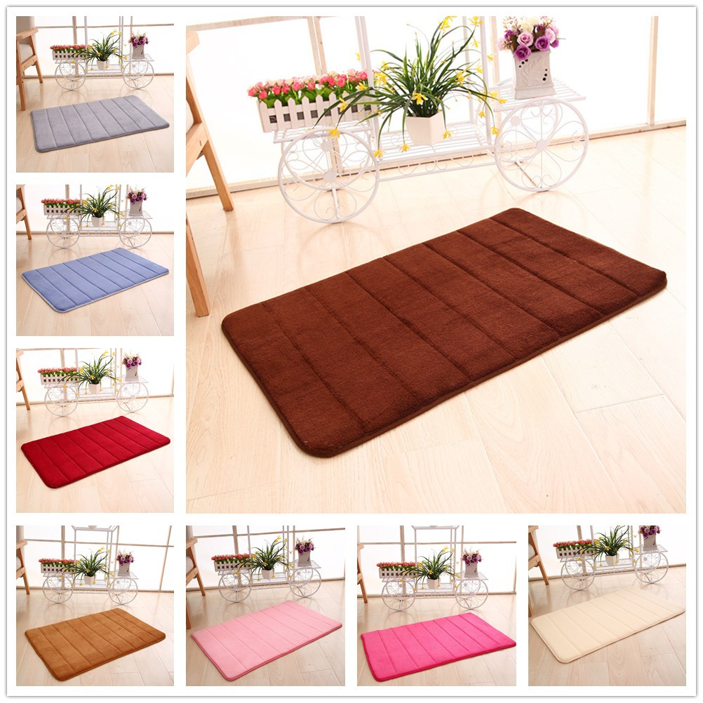 40x60cm Door Mat Bathroom Rug Kitchen Door Floor  Coral Foam Non-Slip Back Rug Soft Bathroom Carpet Memory Foam Bath Mat