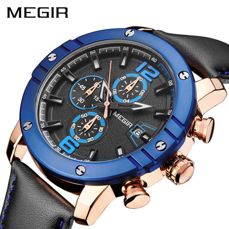MEGIR New Men Sport Watch Leather Strap Chronograph Quartz Army Military Watches Clock Men Relojes Hombre Relogio Masculino 2046 skylarpu lcd screen for garmin edge 520 bicycle speed meter lcd display screen panel repair replacement free shipping