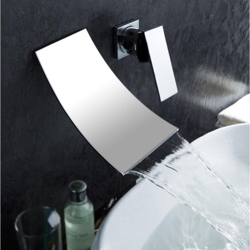 цена на fashion chrome wall mounted hot and cold brass bathroom single lever waterfall faucet basin mixer tap