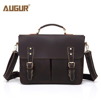 AUGUR Shoulder Bag Men Leather Handbag Brand Luxury Genuine Leather Briefcase Business Men'S Messenger Crossbody Bag For Male