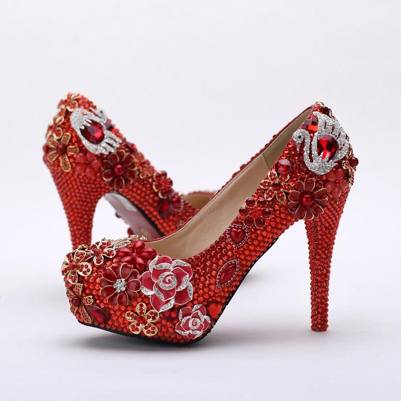 Soirée red La Mariage Discothèque Mère 14cm Cristal Pompes Strass Bal Heels Heels 2018 12cm Rouge 10cm Red De Magnifique Mariée Chaussures 0BTxnOqvwY