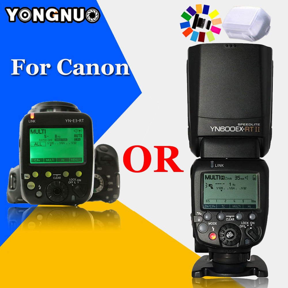 YONGNUO YN600EX-RT II 2.4G Wireless HSS 1/8000s Master TTL Flash Speedlite OR YN-E3-RT Controller for Canon 5D3 5D2 7D 6D 70D 3pcs yongnuo yn600ex rt auto ttl hss flash speedlite yn e3 rt controller for canon 5d3 5d2 7d mark ii 6d 70d 60d
