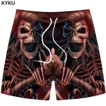 KYKU Brand Skull Shorts Men Red Casual Shorts Beach King Gothic 3d Print Shorts Cargo Hip Hop Mens Short Pants 2018 Male Summer