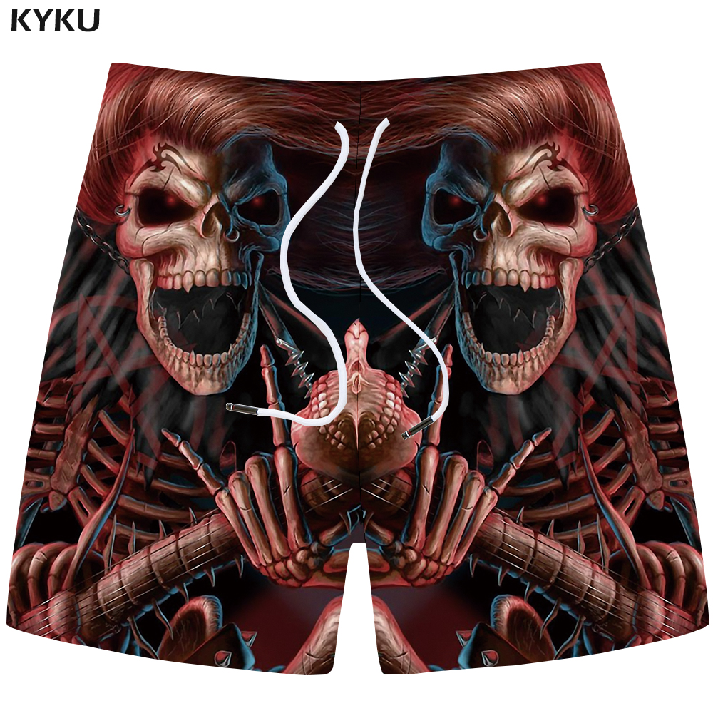 KYKU Brand Skull Shorts Men Red Casual Shorts Beach King Gothic 3d Print Shorts Cargo Hip Hop Mens Short Pants 2018 Male Summer