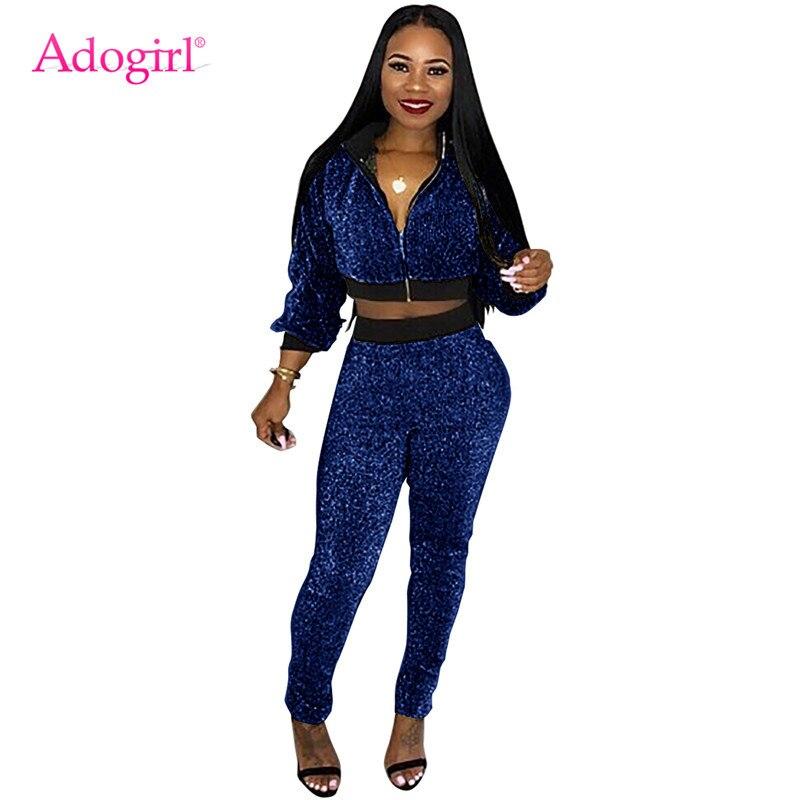 5dfad01656ab Adogirl Sparkling Golden Silk Thread Women Tracksuit Stand Collar Long  Sleeve Zipper Jacket Crop Top +
