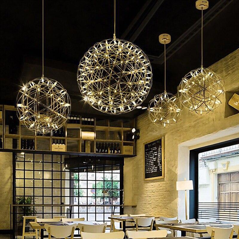 Suspension Ditoon Postmodern Spark design lumière salon salle à manger lampes en métal feu d'artifice Luminaire argent Rose or lustre