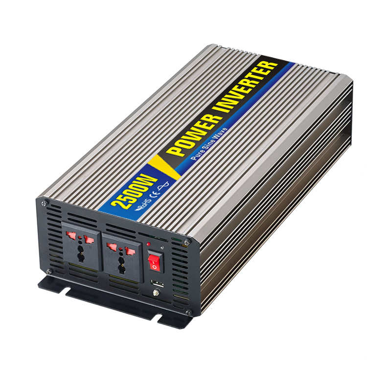 High efficiency 2500W Car Power Inverter Converter DC 12V to AC 110V or 220V Pure Sine Wave Peak 5000W Power Solar inverters