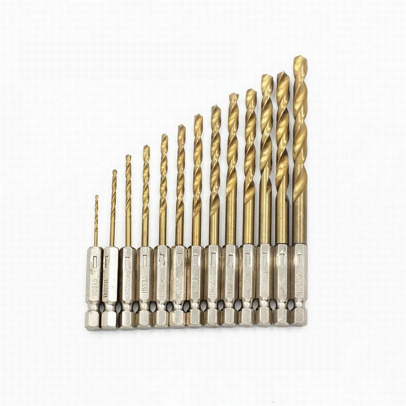 13Pcs Hexagonal Hss Twist Drill Bit Drilling Iron Sheet Drill Accessories With 1/4 Hex Shank Drill Electric Screwdriver drillpro 3pcs hss spiral grooved center drill bit 4 12 20 32mm solid carbide mini drill accessories titanium step cone drill bit