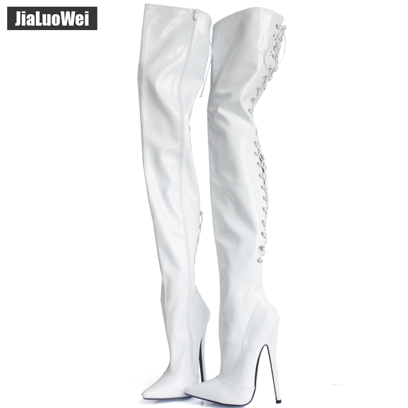 New arrival women zipper high heels over knee fashion patent leather high-heeled sexy boots white black red shoes plus size