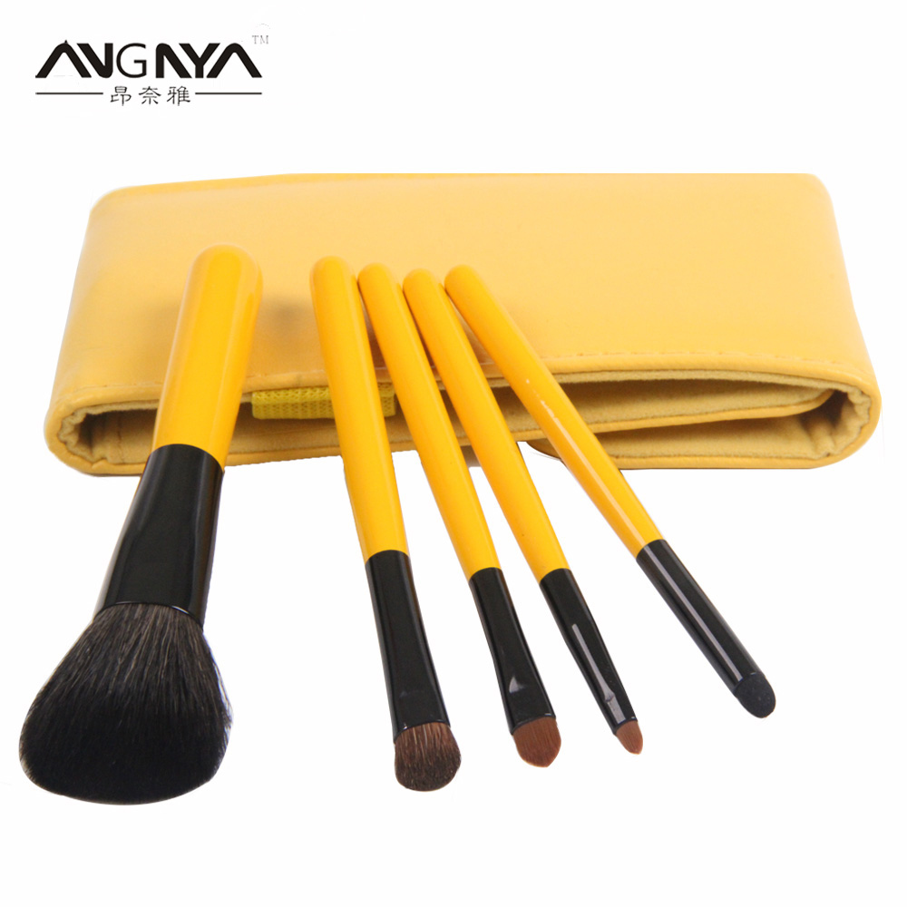 ANGNYA Yellow Wooden Handle Nylon Hair Makeup Brush Set 5PCS Cosmetic Facial Make Up Brushes With Mirror In Leather Bag 15 in 1 cosmetic make up brushes set black yellow