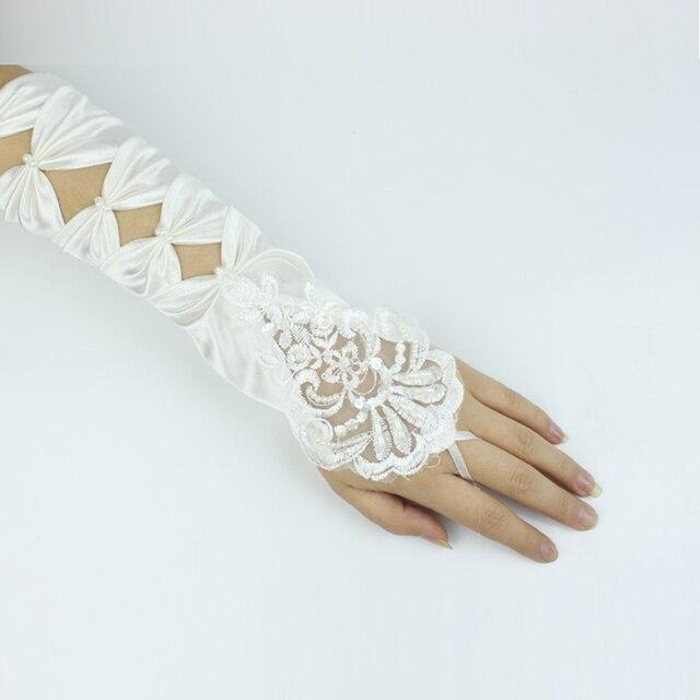 Luvas de noiva projeto longo bordado rendas luvas de cetim projeto longo luvas de noiva bordado acessórios s10020