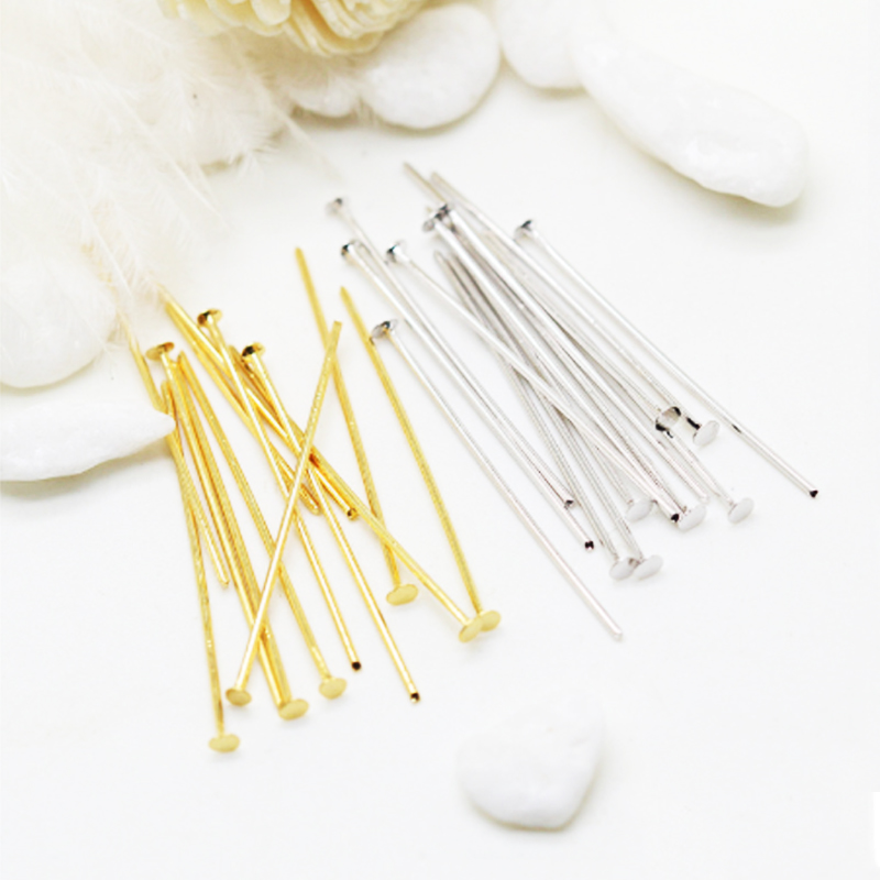 100pcs/Lot No Fade 40mm Stainless Steel Flat Head Pin Findings Headpins For LAMP BEAD Jewelry Making DIY Supplies Accessories