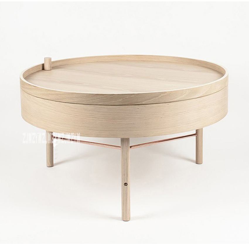 Natural Solid Wood Healthy Handmade Multi Function Storage Rotating Coffee Table Modern Simple White Oak Tea Tray In Café Tables From Furniture On