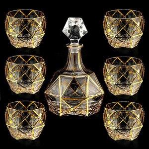 Image 2 - Kryształ wysokiej jakości szklany kieliszek do wina złoty kieliszek do whisky kubek kreatywny lampka do czerwonego wina brandy zestaw filiżanek barwarer agd drinkware