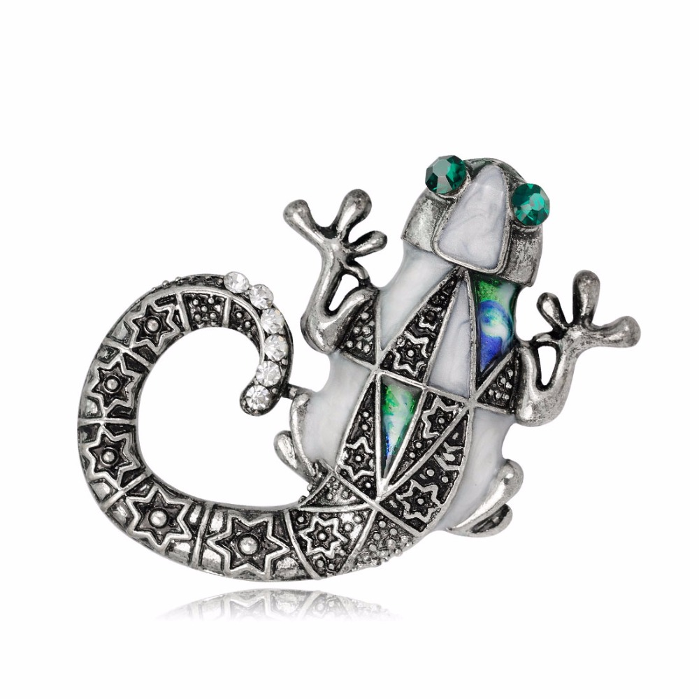 DuoTang Vintage Animal Brooches Classic Rhinestone Lizard Badges for Women Shirt Collar Pins Jewelry Accessories Christmas Gift