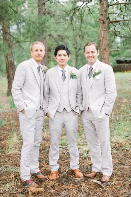 New Arrival Wedding Suits For Men Light Gray Mens Notched Lapel Grooms Tuxedos Three