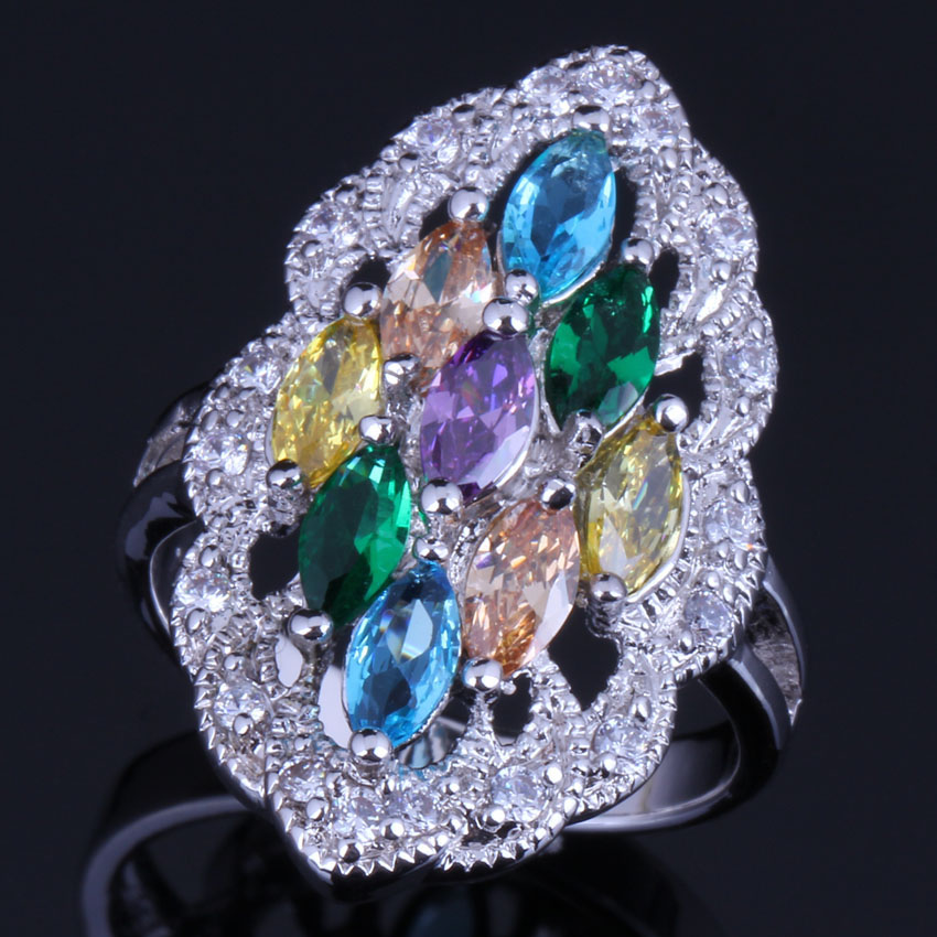 Captivating Oval Multigem Multicolor Yellow Cubic Zirconia 925 Sterling Silver Ring For Women V0593