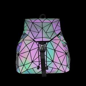 Image 2 - Bao Mochila con cordón luminoso para mujer, morral diario con geometría, mochilas escolares plegables para adolescentes