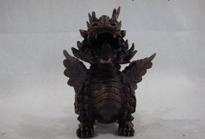 Chinese classical pure red bronze copper Lucky wing Dragon Foo Dog kylin Statue