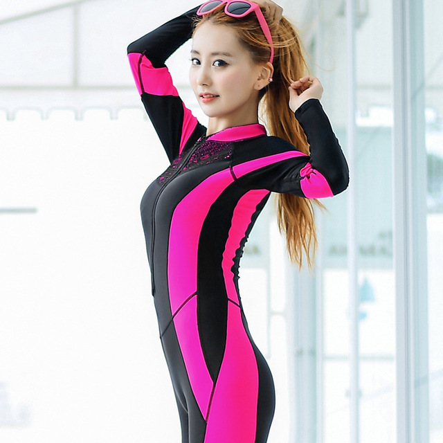 Full Body Surfing Swimsuit One Piece Swim Suit Long Legs Long Sleeves for  Women UV Sun Protection Rash Guard Swimming Suit 0e357b995